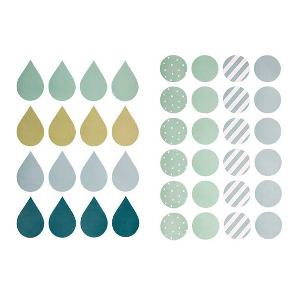 stickers muraux bleu vert