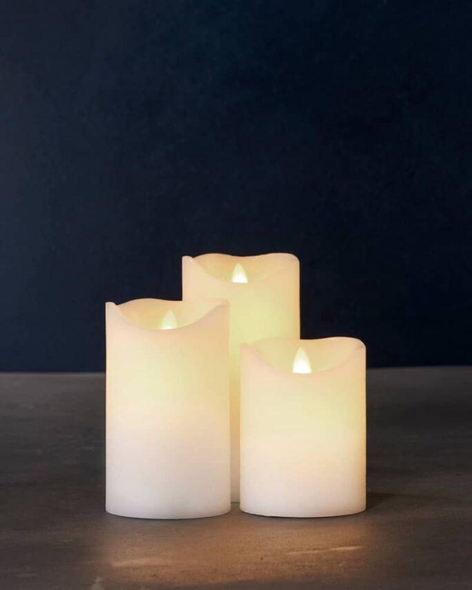 Coffret de 3 bougies LED cire blanche