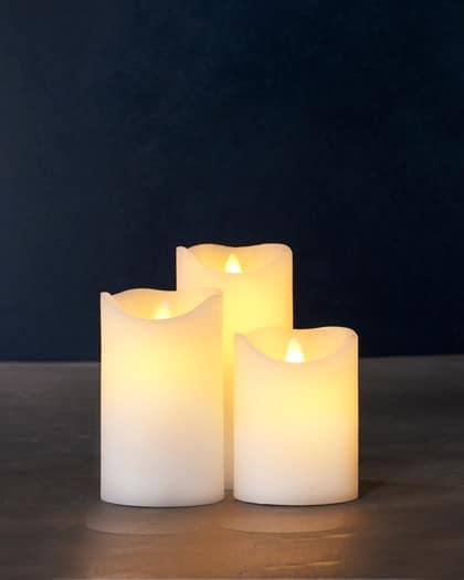 Coffret de 3 bougies LED cire beige