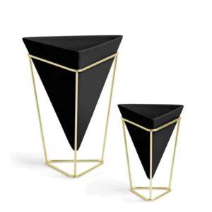 Vases / pots à poser Trigg noir doré (lot de 2) - Umbra