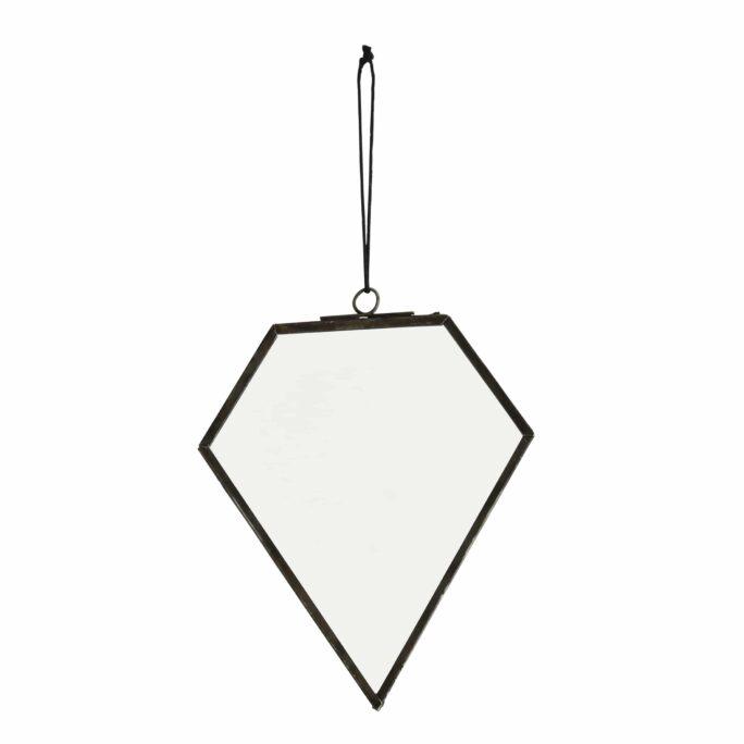Miroir pentagone métal noir (Petit)