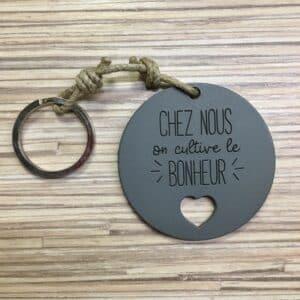 Porte-clé CHEZ NOUS coloris gris