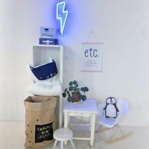 Lampe style néon Eclair bleu