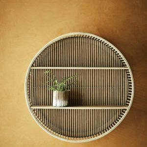 Etagère murale ronde en bambou