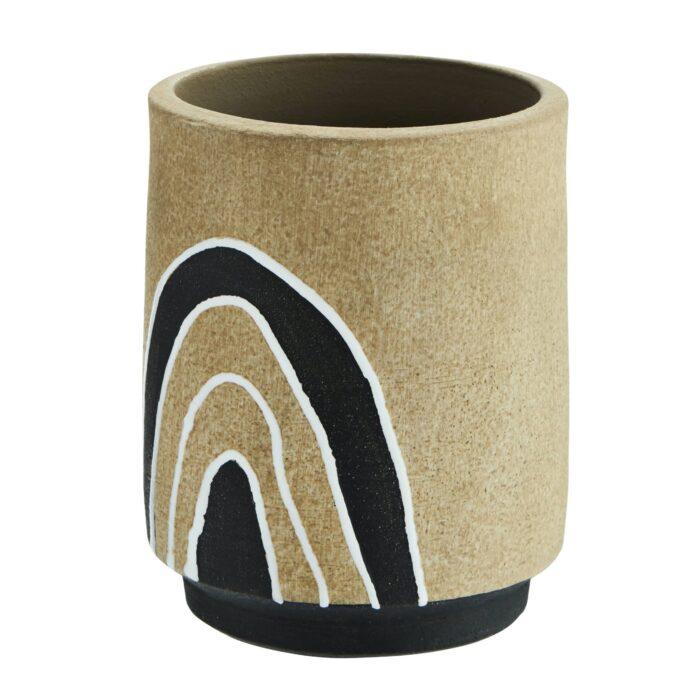 Cache-pot beige noir terracotta