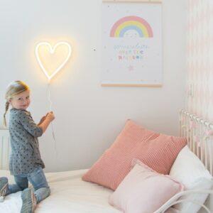Lampe style néon Coeur Jaune