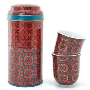 Coffret 2 boites et 2 tasses en porcelaine assorties Kalea