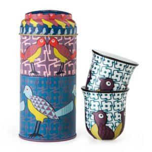 Coffret 2 boites et 2 tasses en porcelaine assorties Oiseaux du Paradis