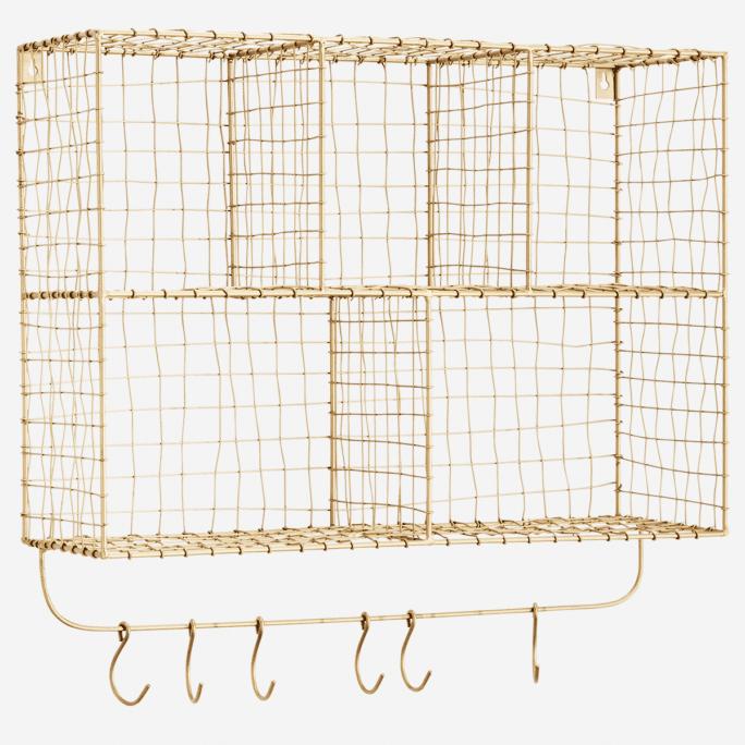 Etagère murale avec crochets en métal doré
