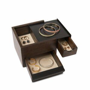 Boîte à bijoux MINI STOWIT Noir / Noyer