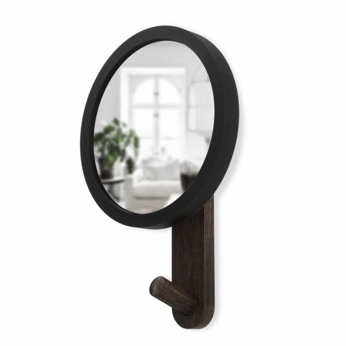 Miroir avec crochet HUB Noir / Noyer