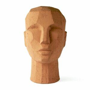 Décor tête sculptée en terre cuite