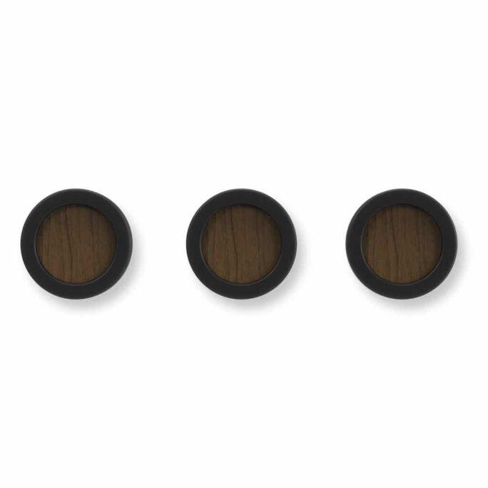 Set de 3 patères HUB Noir / Noyer