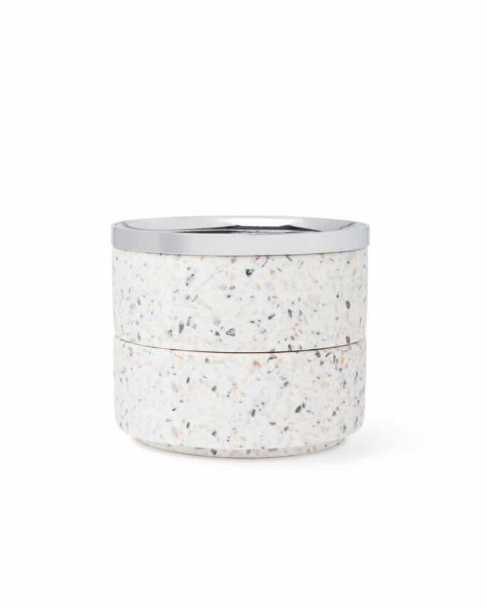 Boîte à bijoux TESORA Terrazzo / Chromé