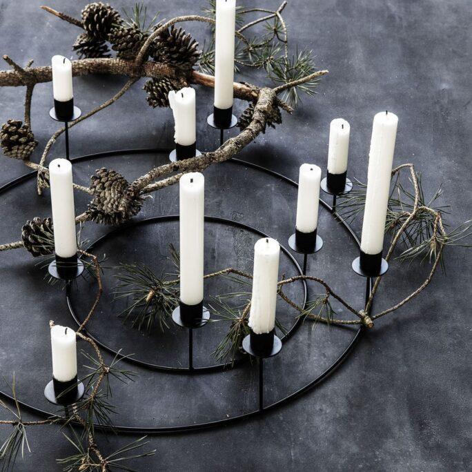 Bougeoir (8 bougies) anneau noir