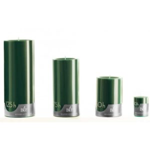 Bougie cylindrique 15cm 75h vert Noël