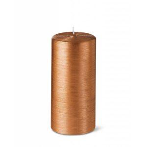 Bougie cylindrique striée 15cm 25h cuivré