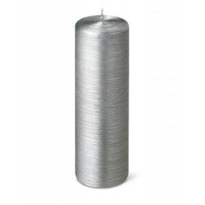 Bougie cylindrique striée 25cm 40h argent
