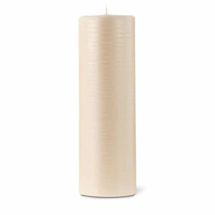 Bougie cylindrique striée 25cm 40h blanc nacré