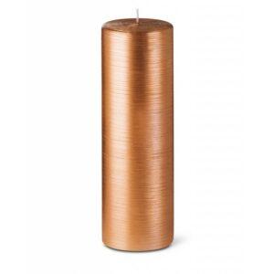Bougie cylindrique striée 25cm 40h cuivre