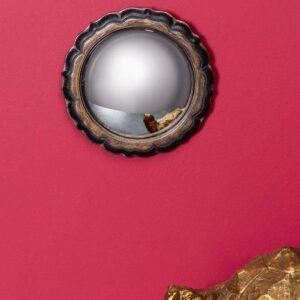 Miroir convexe fleurs noir et or