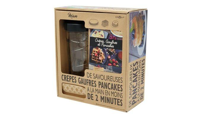 Coffret Miam Shaker pour crêpes, pancakes et gaufres maison avec tartineur et livret recettes