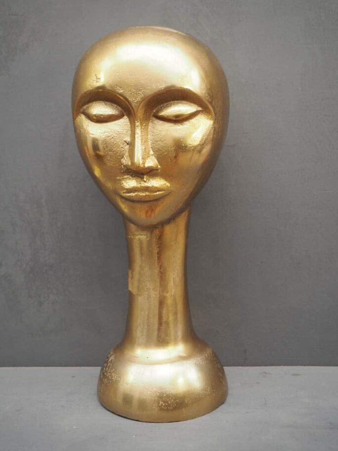 Décor Tête en métal doré