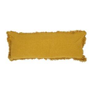 Coussin long en coton jaune