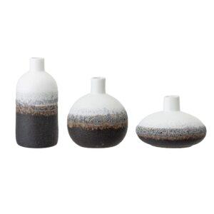 Set de 3 vases marron/blanc/noir