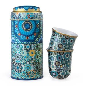 Coffret 2 boites et 2 tasses en porcelaine assorties Moucharabieh Blue