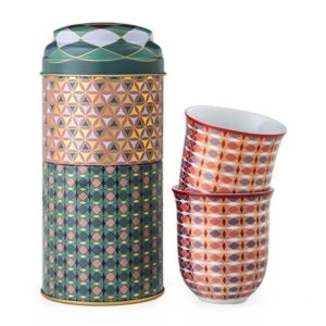 Coffret 2 boites et 2 tasses en porcelaine assorties Opera