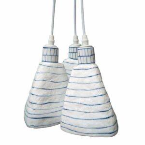Suspensions céramique bleu et blanc (3 globes