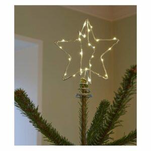 Etoile lumineuse argentée  pour sapin de Noël