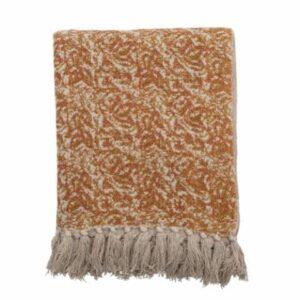 Plaid en coton beige/orange CIANNA