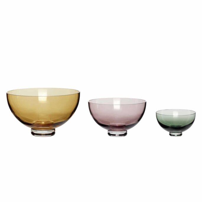 Set de 3 coupes en verre ambre/rose/vert