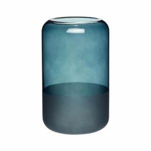 Vase bleu givré en verre