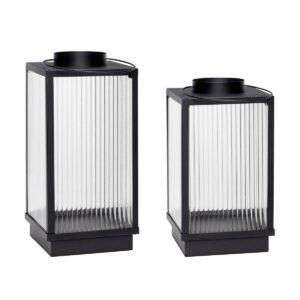 Grande lanterne en métal noir et verre