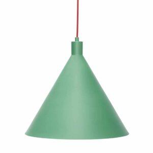 Suspension en métal vert et câble rouge