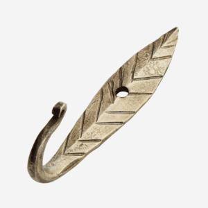 Crochet feuille en fer forgé doré 7,5cm