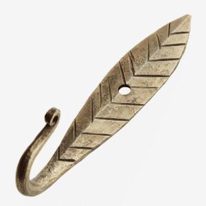 Crochet feuille en fer forgé doré 11cm